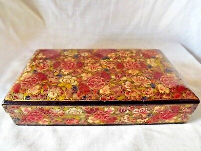 Vintage Japanese Red & Gold Lacquer Box with Flowers
