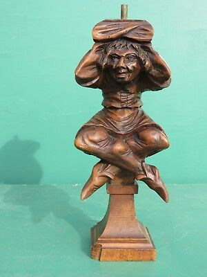 Antique wooden Carving of a SEATED JESTER circa 1890 made in Belgium BEECH WOOD