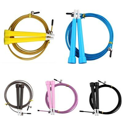 Adjustable Steel Cable Speed Skipping Rope Fitness Exercise Crossfit Boxing 3m