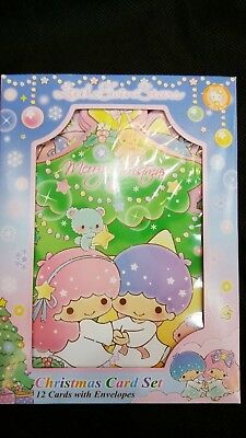 2018 Sanrio Little Twin Stars Christmas Card Set 12 Cards With Envelopes P+P