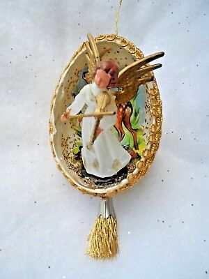 Vintage Handmade Christmas Ornament - REAL EGG DIORAMA ANGEL w/VIOLIN