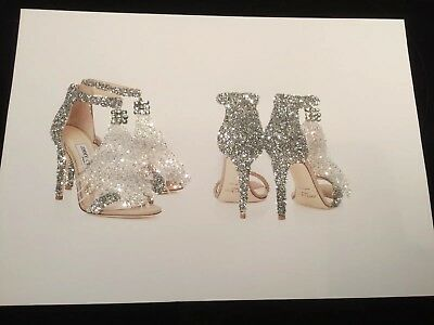 Glitter  Diamante Shoe  picture A4 print only NO FRAME with diamantes