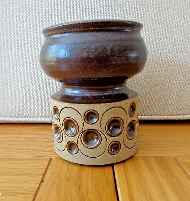 Jersey Pottery, Small Brown & Beige Stoneware Vase-Pot