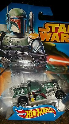 Hot Wheels Car  Boba Fett Star Wars Diecast 2014 Bounty Hunter HTF 3+  1:64
