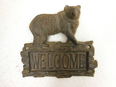 "cast iron WELCOME PLAQUE SIGN with Bear - rustic Cabin Look - 7"" wide"