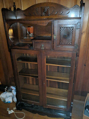 Antique Carved Ornate Mirrored Wood Bookshelf Bookcase Vtg New Milford CT