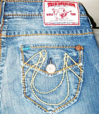 461cc5ae8 HOT Men TRUE RELIGION NATHAN GIANT BIG T STRAIGHT LEG Jeans 31 x 34 (Fit