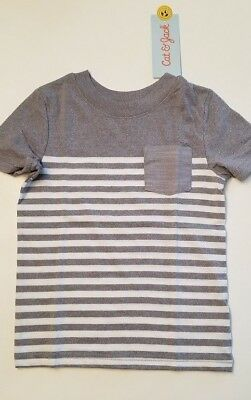 Cat & Jack Grey Stripe Infant Toddler Boys Shirt 18M 2T 3T 5T NWT