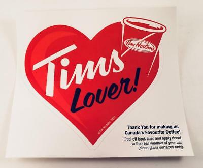 """Lot Of 5 Tim Hortons """"tims Lover"""" Heart Shaped Window Decals"""