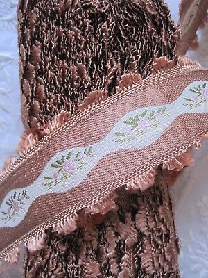 Vintage Brown French 1930's Rayon Jacquard With Pink Flowers Ribbon Trim 1 Yd