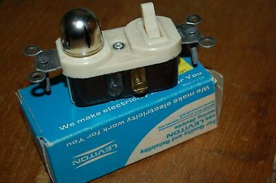 Vintage NOS LEVITON 5213 IVORY SINGLE POLE FLUSH TOGGLE SWITCH & PILOT LIGHT