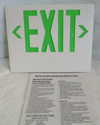 """Lithonia Lighting Green EXIT Sign Face Plate Snap-In Light Cover 13"""" x 10"""""""