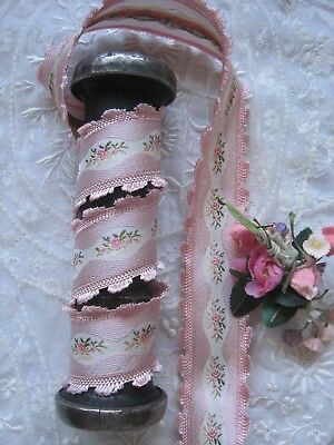 Vintage Pink French 1930'S Rayon Jacquard With Pink Flowers Ribbon Trim 1 Yd