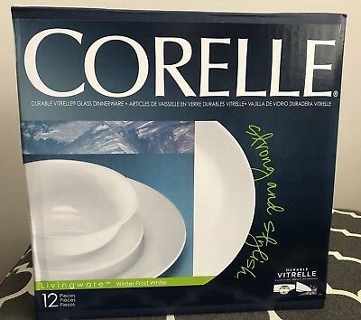 Corelle 12Pc Winter Frost White Dinnerware Set