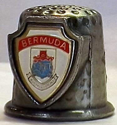 "BERMUDA souvenir collectible pewter thimble approx 3/4"" tall"