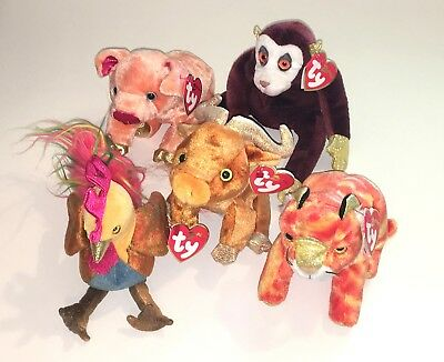 Ty Beanie Babies Zodiac 2000 Monkey Ox Pig Rooster Tiger Plush Toy Lot of 5 NWT