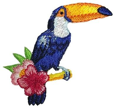 Toucan and Tropical Flowers Applique Patch (Iron on)