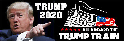 "Donald Trump 2020 All Aboard the Trump Train Exterior Bumper Sticker 9"" x 3"""
