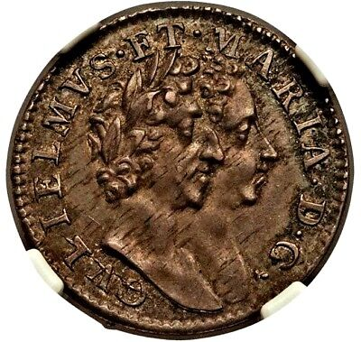 NGC MS-62. William & Mary of England (UK) 4 Pence (Groat). English Silver Coin.