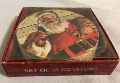 Coca-Cola Set of 12 Coasters Santa Claus 4 inch Diameter