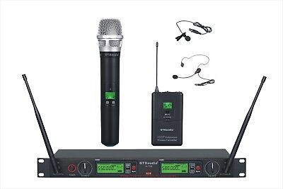 GTD Audio 2x800 Ch UHF Headset Lavalier Wireless Microphone Mic System 733HL