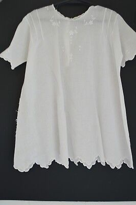 Vintage Baby Christianing Gown Baptism Dress Embroidered Scalloped Victorian