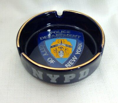 NYPD Ashtray City of New York Police Department Round Blue Gold Used Tobacco