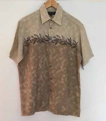 Mens Vintage 80s Shirt Top Short Sleeve Button Up Beige Brown M Holiday