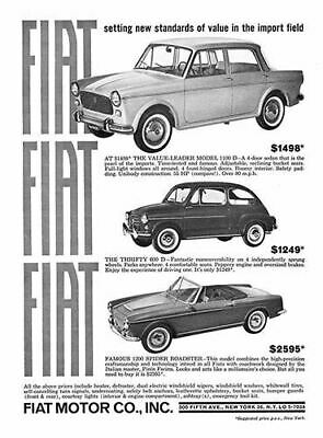 1963 Fiat 1100 600 1200 Spider #100310 Vintage Car Poster Print Art Sign Auto