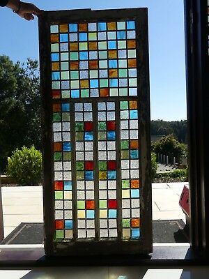 Leadlight stained glass window in timber frame