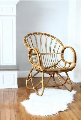 Vintage Franco Albini Style Rattan Scoop Chair Bamboo Curved Side Armchair