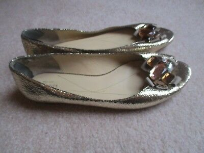 f561bf5b815e Kate Spade New York Gold Leather Flat Shoes With Jeweled Peep Toe 10M