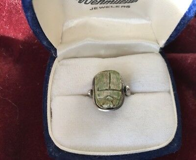 Antique Sterling Silver Scarab Carved Turquoise Egyptian Ring Estate Find