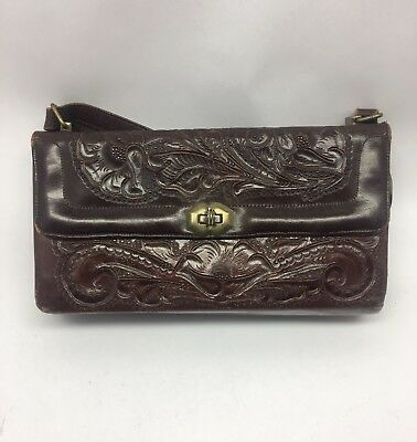Vintage 1950s Rich Brown Leather Hand Tooled Satchel Purse with Coin Purse