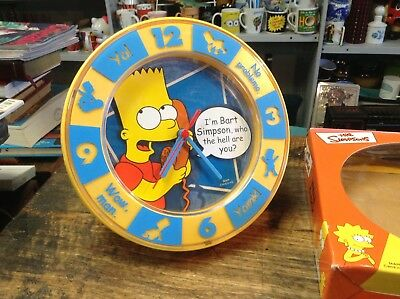 """BRT Rare Boxed Un-Used The Simpsons """"Bart"""" Retro 2003 Collectable Wall Clock"""
