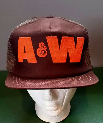 Vtg A & W Restaurant Root Beer Trucker Hat Snapback Cap THINK SERVICE  USA  RARE