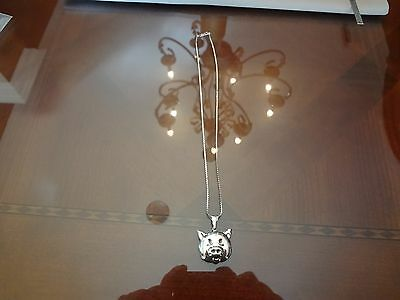 Vintage Sterling Silver Necklace With Sterling Pig Locket-925-Very Nice- Old
