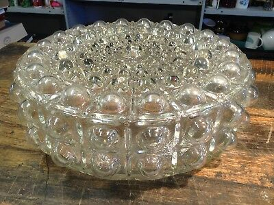 BRT Groovy C.1960s Vintage Light Shade Hobnail Glass Clear Ceiling Cover (3kgs)