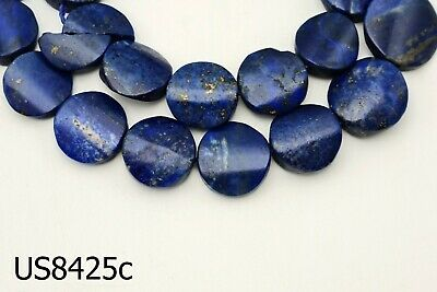 Ancient Egypt Style BRIGHT BLUE Lapis w/Pyrite Carved Coin Bead Strand #8425