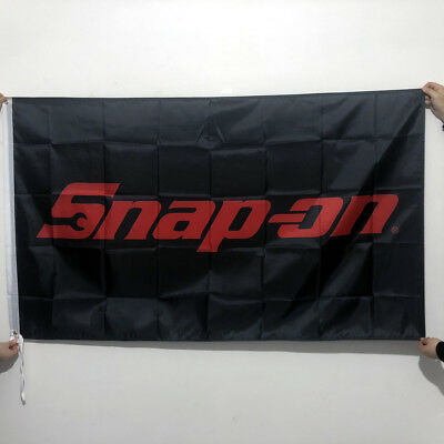 Snap-on Flag Banner3x5ft American Tools Products Wall Garage Black 2Grommets/126