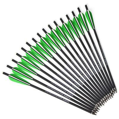 "12pcs 16"" 17"" Crossbow Carbon Arrows Bolts Arrowheads Points Target Tips Hunting"