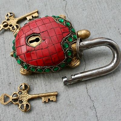 Vintage Solid Brass Padlock Antique lock and key Rustic Turtle Tortoise Decor