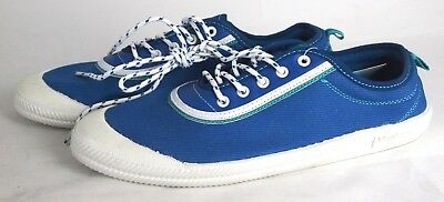 Volley Player Men's Lace Up Sneakers Canvas White/Blue