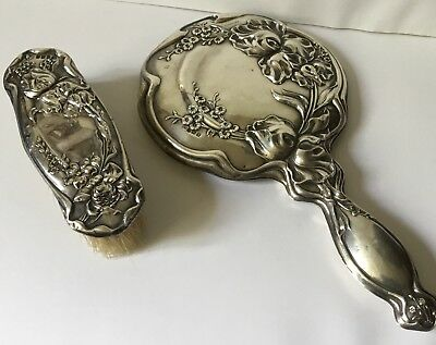 Hallmarked Silver Floral Embossed Hand mirror & brush 1917