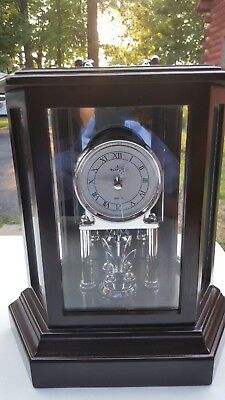 Wallace Silversmith Mahogany Carriage Clock With Spinning Crown