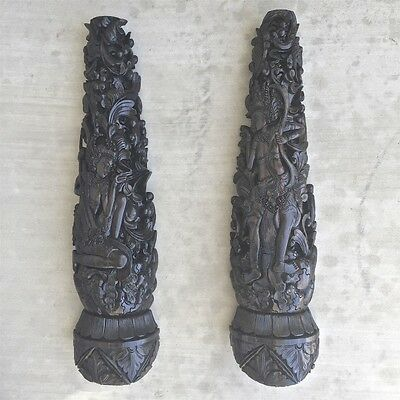 Two Custom Wall Brackets-Posts Vintage Architectural Balinese Wood Carved
