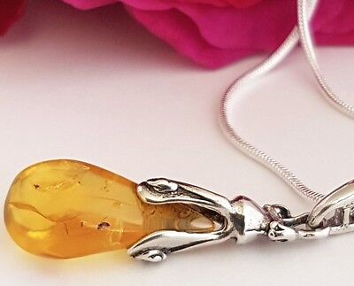 Genuine Baltic Amber Pendant With Insect   Sterling Silver Chain 925