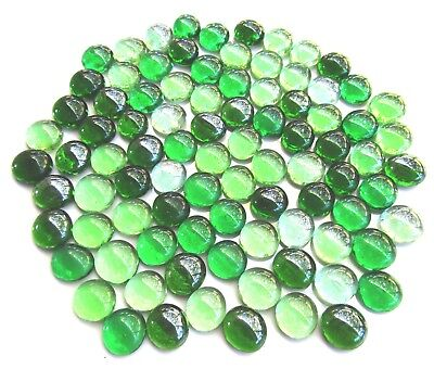 90 x Shades of Mixed Botanical Green Art Glass Mosaic Craft Pebbles Gem Stones