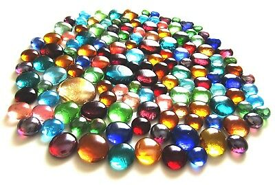 150 x Rainbow Art Glass Mosaic Pebble Gem Stones - Assorted Colours & Sizes