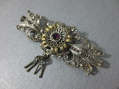 Gorgeous Vintage Ottoman folklore silver filigree + gilded pin Brooch ornament